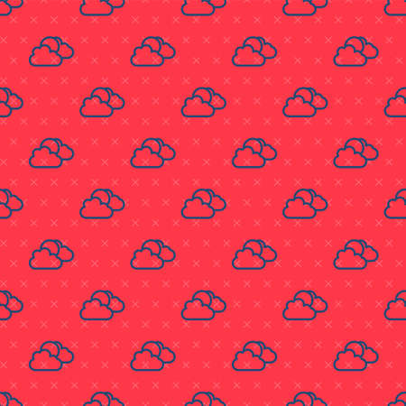Blue line Sun and cloud weather icon isolated seamless pattern on red background. Vector Ilustração