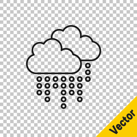 Black line Cloud with rain icon isolated on transparent background. Rain cloud precipitation with rain drops. Vector
