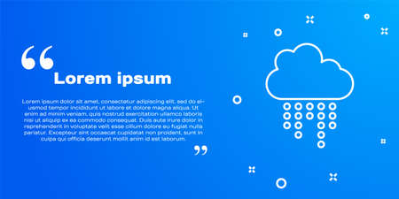 White line Cloud with rain icon isolated on blue background. Rain cloud precipitation with rain drops. Vector