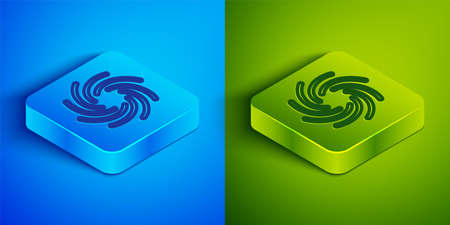 Isometric line Tornado icon isolated on blue and green background. Cyclone, whirlwind, storm funnel, hurricane wind or twister weather icon. Square button. Vector Ilustração