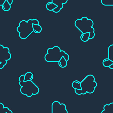 Green line Cloud with rain icon isolated seamless pattern on blue background. Rain cloud precipitation with rain drops. Vector Ilustração