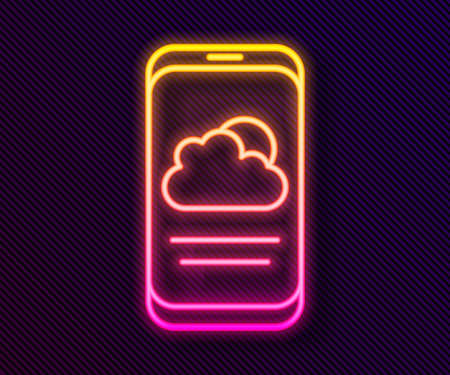 Glowing neon line Weather forecast icon isolated on black background. Vector