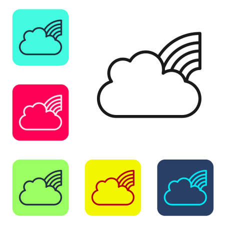 Black line Rainbow with clouds icon isolated on white background. Set icons in color square buttons. Vector