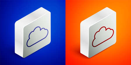 Isometric line Cloud icon isolated on blue and orange background. Silver square button. Vector Ilustração