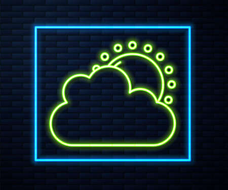 Glowing neon line Sun and cloud weather icon isolated on brick wall background. Vector