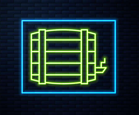 Glowing neon line Wooden barrel icon isolated on brick wall background. Alcohol barrel, drink container, wooden keg for beer, whiskey, wine. Vector