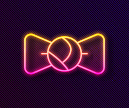 Glowing neon line Bow tie icon isolated on black background. Vector