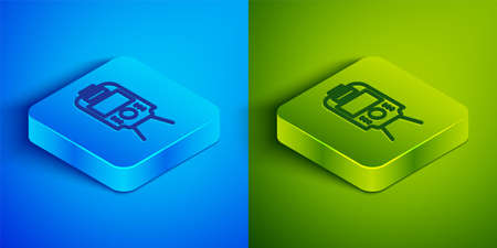 Isometric line Tram and railway icon isolated on blue and green background. Public transportation symbol. Square button. Vector