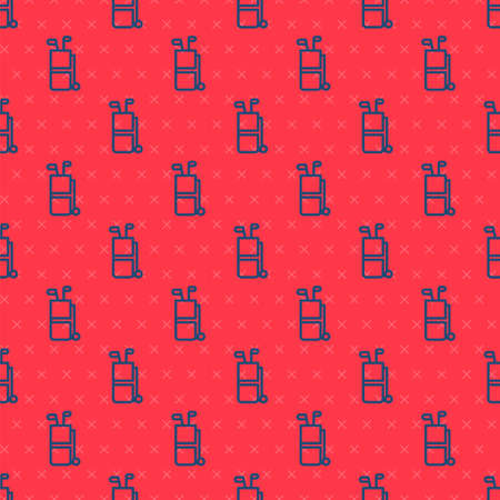 Blue line Golf bag with clubs icon isolated seamless pattern on red background. Vector Ilustração