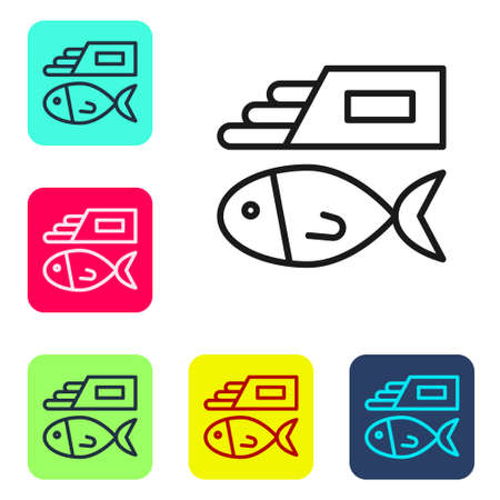 Black line Fish and chips icon isolated on white background. Set icons in color square buttons. Vector