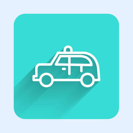 White line Taxi car icon isolated with long shadow. Green square button. Vector