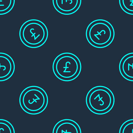Green line Coin money with pound sterling symbol icon isolated seamless pattern on blue background. Banking currency sign. Cash symbol. Vector Ilustração