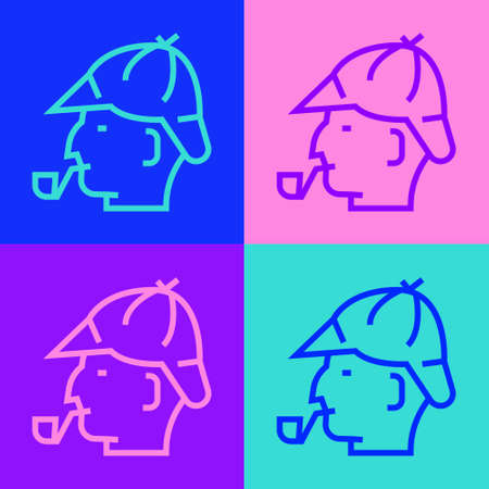 Pop art line detective with smoking pipe icon isolated on color background. Detective. Vector