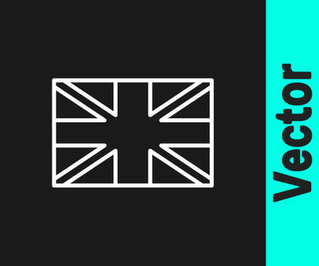 White line Flag of Great Britain icon isolated on black background. UK flag sign. Official United Kingdom flag. British symbol. Vector