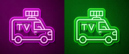 Glowing neon line TV News car with equipment on the roof icon isolated on purple and green background. Vector