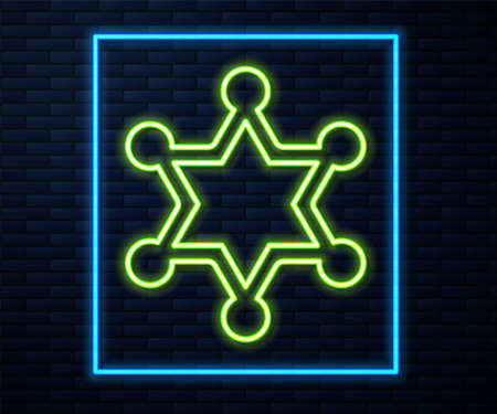 Glowing neon line Hexagram sheriff icon isolated on brick wall background. Police badge icon. Vector Illusztráció