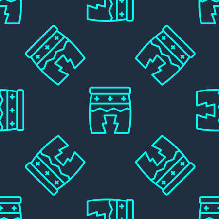 Green line Musical instrument huehuetl icon isolated seamless pattern on blue background. Vector