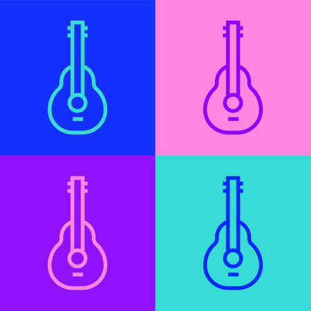 Pop art line Mexican guitar icon isolated on color background. Acoustic guitar. String musical instrument. Vector