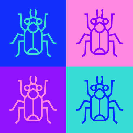 Pop art line Beetle bug icon isolated on color background. Vector