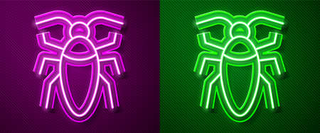 Glowing neon line Cockroach icon isolated on purple and green background. Vector