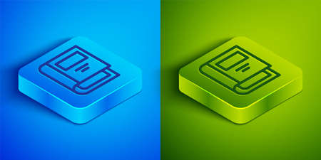 Isometric line History book icon isolated on blue and green background. Square button. Vector