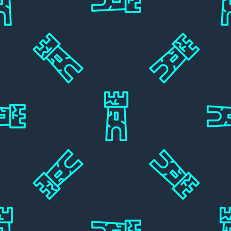 Green line Castle tower icon isolated seamless pattern on blue background. Fortress sign. Vector