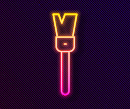 Glowing neon line Paint brush icon isolated on black background. For the artist or for archaeologists and cleaning during excavations. Vector