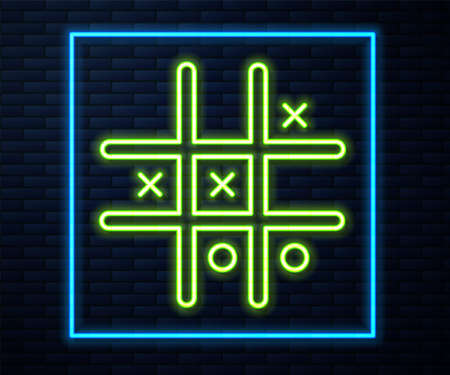 Glowing neon line Tic tac toe game icon isolated on brick wall background. Vector