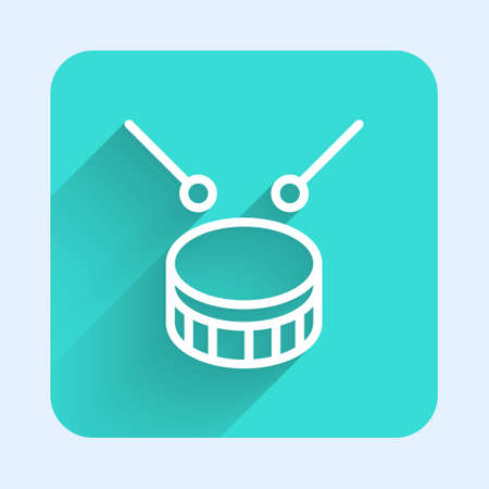 White line Drum with drum sticks icon isolated with long shadow. Music sign. Musical instrument symbol. Green square button. Vector