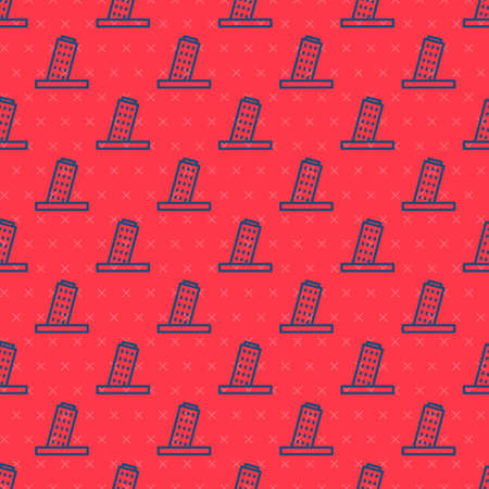 Blue line Leaning Tower in Pisa icon isolated seamless pattern on red background. Italy symbol. Vector