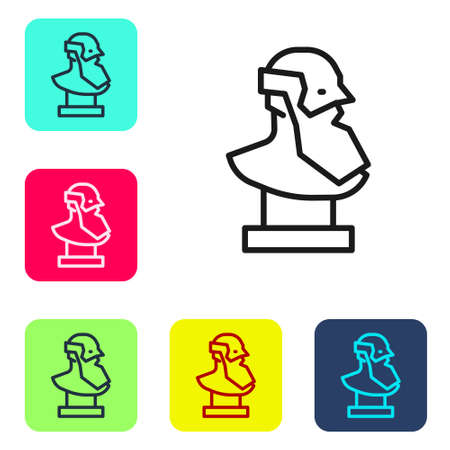 Black line Ancient bust sculpture icon isolated on white background. Set icons in color square buttons. Vector