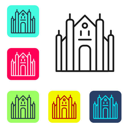Black line Milan Cathedral or Duomo di Milano icon isolated on white background. Famous landmark of Milan, Italy. Set icons in color square buttons. Vector