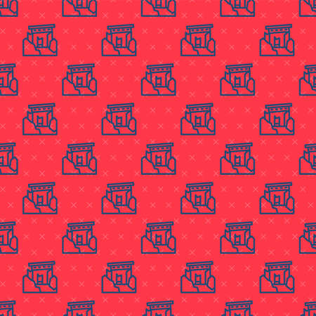 Blue line Ancient ruins icon isolated seamless pattern on red background. Vector