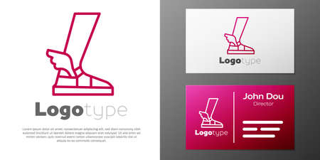 Logotype line Hermes sandal icon isolated on white background. Ancient greek god Hermes. Running shoe with wings. Illustration