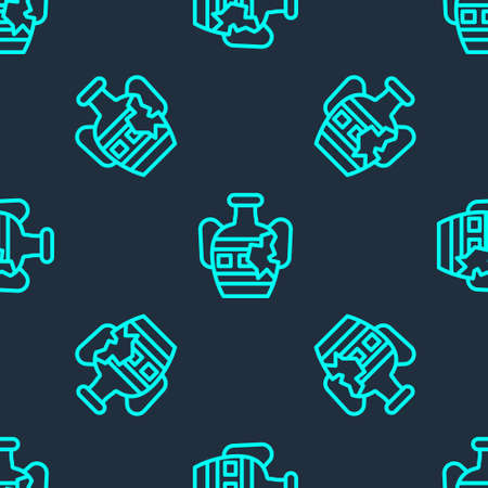 Green line Broken ancient amphorae icon isolated seamless pattern on blue background. Vector
