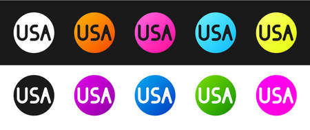 Set USA label icon isolated on black and white background. United States of America. Vector Illustration