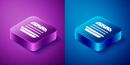 Isometric Burger icon isolated on blue and purple background. Hamburger icon. Cheeseburger sandwich sign. Fast food menu. Square button. Vector Illustration