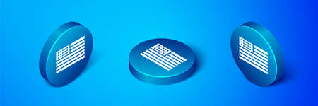 Isometric American flag icon isolated on blue background. Flag of USA. United States of America. Blue circle button. Vector Illustration