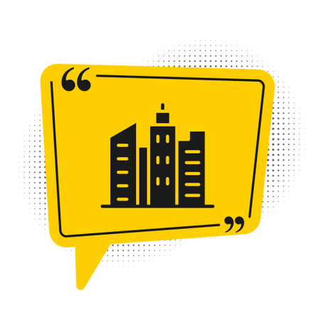 Black City landscape icon isolated on white background. Metropolis architecture panoramic landscape. Yellow speech bubble symbol. Vector Illustration 矢量图像
