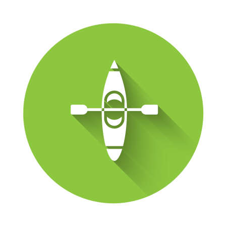White Kayak and paddle icon isolated with long shadow. Kayak and canoe for fishing and tourism. Outdoor activities. Green circle button. Vector Illustration
