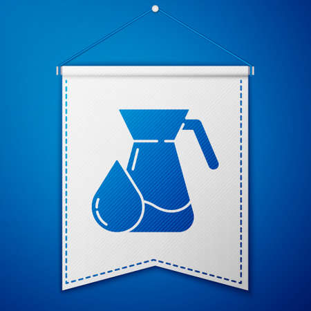 Blue Jug glass with water icon isolated on blue background. Kettle for water. Glass decanter with drinking water. White pennant template. Vector Illustration