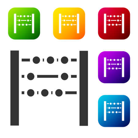 Black Abacus icon isolated on white background. Traditional counting frame. Education sign. Mathematics school. Set icons in color square buttons. Vector Illustration Illustration