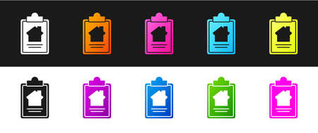 Set House contract icon isolated on black and white background. Contract creation service, document formation, application form composition. Vector Illustration