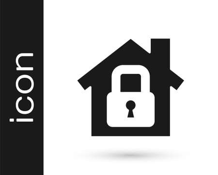 Grey House under protection icon isolated on white background. Home and lock. Protection, safety, security, protect, defense concept. Vector Illustration