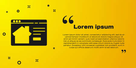 Black Online real estate house in browser icon isolated on yellow background. Home loan concept, rent, buy, buying a property. Vector Illustration