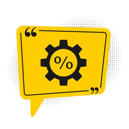 Black Gear with percent icon isolated on white background. Yellow speech bubble symbol. Vector Illustration Illusztráció