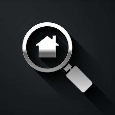 Silver Search house icon isolated on black background. Real estate symbol of a house under magnifying glass. Long shadow style. Vector Illustration Illustration