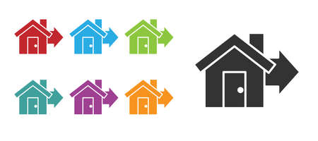 Black Sale house icon isolated on white background. Buy house concept. Home loan concept, rent, buying a property. Set icons colorful. Vector Illustration Illustration