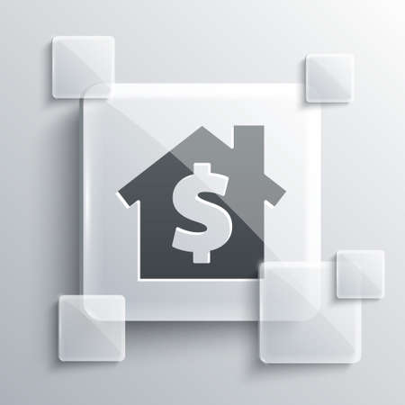Grey House with dollar symbol icon isolated on grey background. Home and money. Real estate concept. Square glass panels. Vector Illustration