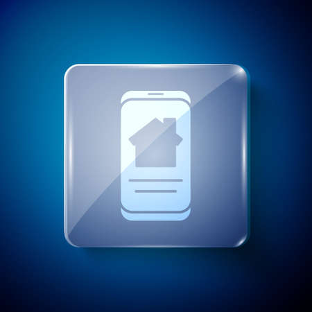 White Online real estate house on smartphone icon isolated on blue background. Home loan concept, rent, buy, buying a property. Square glass panels. Vector Illustration